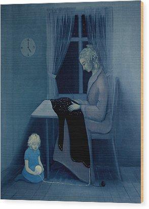 Wood Print featuring the painting Mama Knitting Big Sister Home by Tone Aanderaa