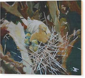 Mama And Babies Wood Print by Julie Todd-Cundiff