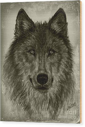 Mama Wolf Vintage Wood Print by Michelle Wolff