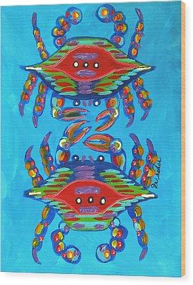 Mambo Crabs Wood Print by JoAnn Wheeler