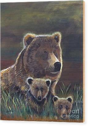Wood Print featuring the painting Mammas Warmth by Leslie Allen