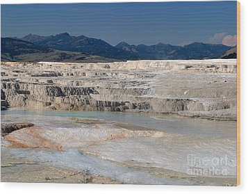 Mammoth Terrace Layers Wood Print by Charles Kozierok
