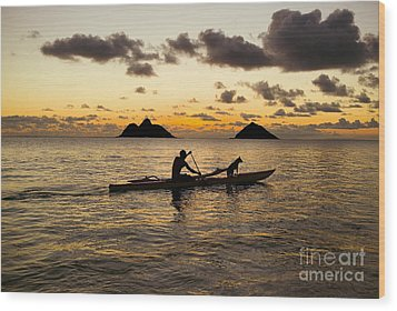 Man And Dog In Canoe Wood Print by Dana Edmunds - Printscapes
