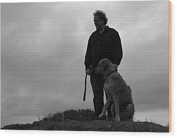 Man And His Dog In Silhouette Wood Print by Lorraine Devon Wilke