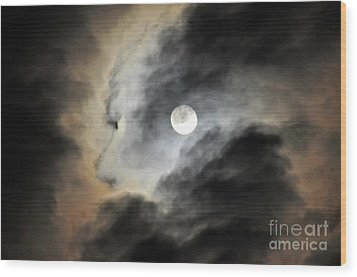 Wood Print featuring the photograph Man And Moon by Cindy Lee Longhini