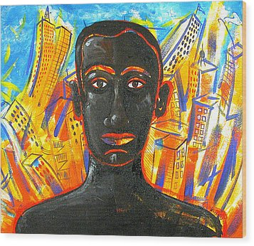 Man And The City Wood Print by Rollin Kocsis
