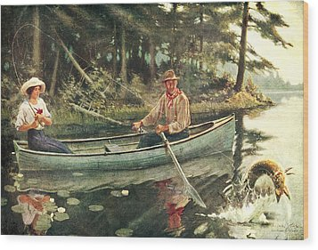 Man And Woman Fishing Wood Print by JQ Licensing