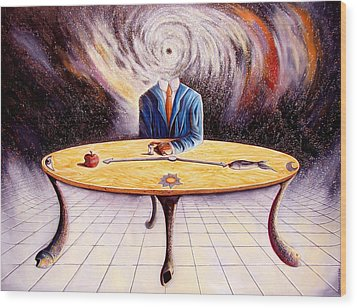 Man Attempting To Comprehend His Place In The Universe Wood Print by Darwin Leon