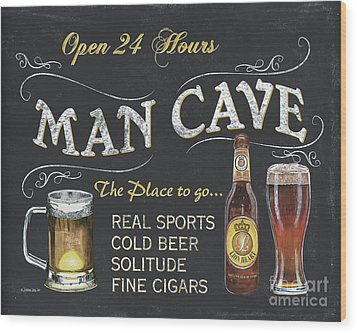 Man Cave Chalkboard Sign Wood Print by Debbie DeWitt