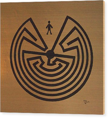 Man In Maze Wood Print