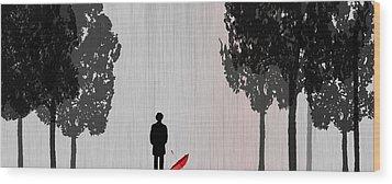 Man In Rain Wood Print by Jim Kuhlmann