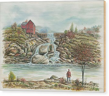 Man In Red Fishing By A Waterfall Wood Print by Samuel Showman