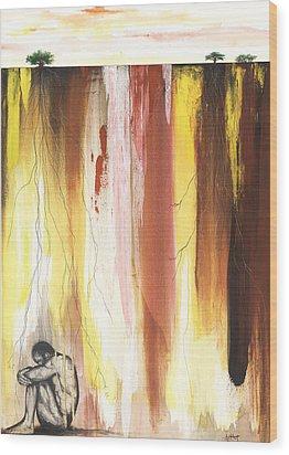 Man In The Corner  Wood Print by Anthony Burks Sr