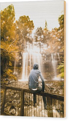 Wood Print featuring the photograph Man Looking At Waterfall by Jorgo Photography - Wall Art Gallery