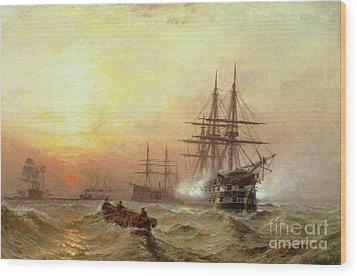 Man-o-war Firing A Salute At Sunset Wood Print by Claude T Stanfield Moore