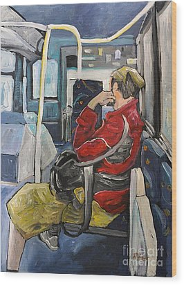 Man On 107 Bus Verdun Wood Print by Reb Frost