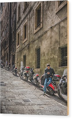 Man On A Scooter Siena-style Wood Print