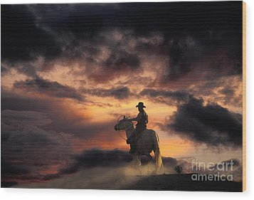 Man On Horseback Wood Print by Ron Sanford and Photo Researchers