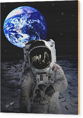 Man On The Moon Wood Print by Tray Mead