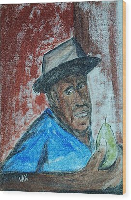 Man With A Pear Wood Print by Van Winslow