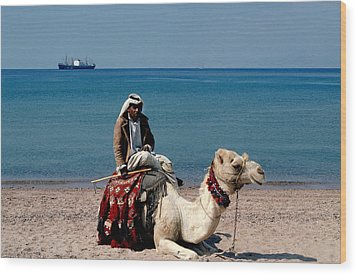 Man With Camel At Red Sea Wood Print