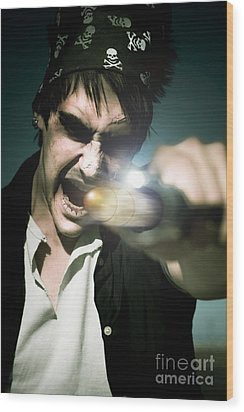 Man With Gun Wood Print by Jorgo Photography - Wall Art Gallery