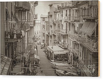 Manarola In Sepia Wood Print