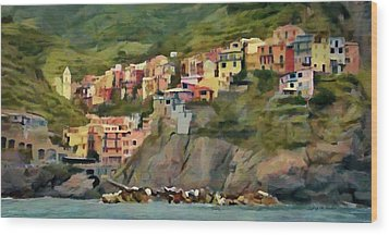 Manarola Wood Print by Jeff Kolker