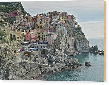 Wood Print featuring the photograph Manarola Version Three by Frozen in Time Fine Art Photography