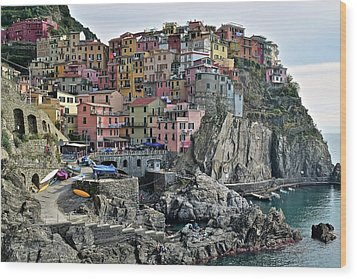 Wood Print featuring the photograph Manarola Version Two by Frozen in Time Fine Art Photography