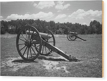 Wood Print featuring the photograph Manassas Battlefield 2 Bw by Frank Romeo