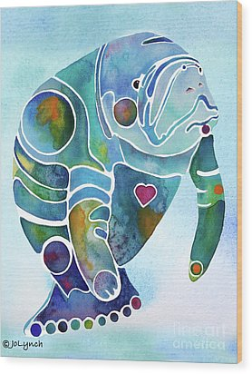 Manatee Blues Wood Print by Jo Lynch
