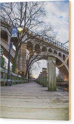 Manayunk - Towpath And Bridge Wood Print by Bill Cannon