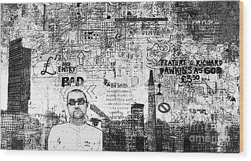 Manchester Graffito Wood Print by Andy  Mercer
