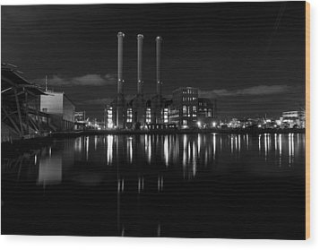 Wood Print featuring the photograph Manchester Street Power Station by Andrew Pacheco