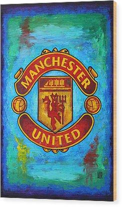 Manchester United Vintage Wood Print by Dan Haraga