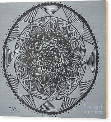Mandal Wood Print by Usha Rai