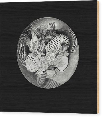 Mandala Wood Print by Ann Powell