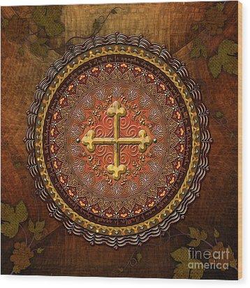 Mandala Armenian Cross Wood Print by Bedros Awak