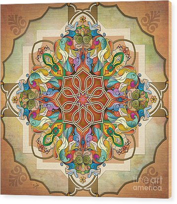 Mandala Birds Wood Print by Bedros Awak