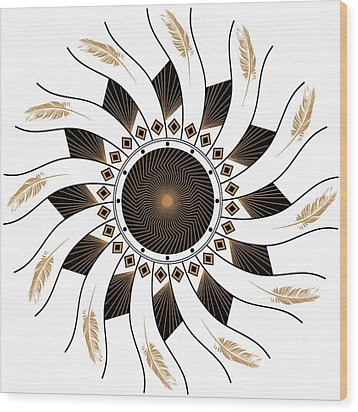 Wood Print featuring the digital art Mandala Black And Gold by Linda Lees