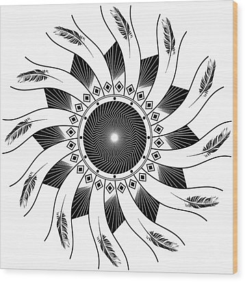 Wood Print featuring the digital art Mandala Black And White by Linda Lees