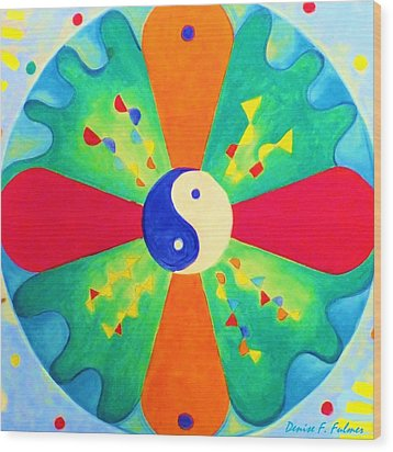 Wood Print featuring the painting Mandala by Denise Fulmer