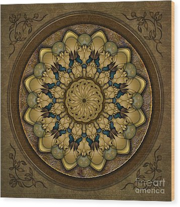 Mandala Earth Shell Wood Print