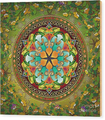 Mandala Evergreen Wood Print