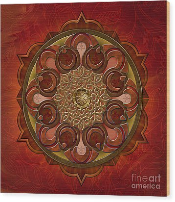 Mandala Flames Wood Print