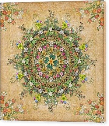 Mandala Flora Wood Print