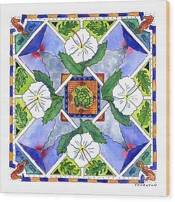 Mandala IIi - White Hibiscus Wood Print by Diane Thornton