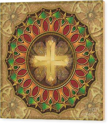 Mandala Illuminated Cross Wood Print by Bedros Awak