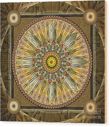 Mandala Illumination V1 Wood Print by Bedros Awak